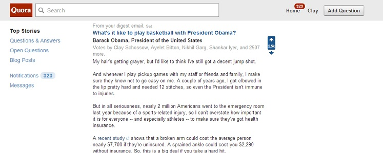 President Obama on Quora
