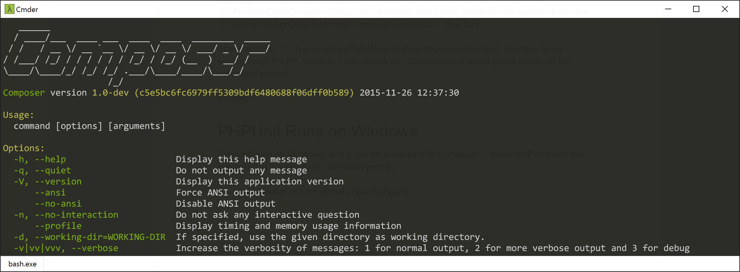 Composer in the command prompt