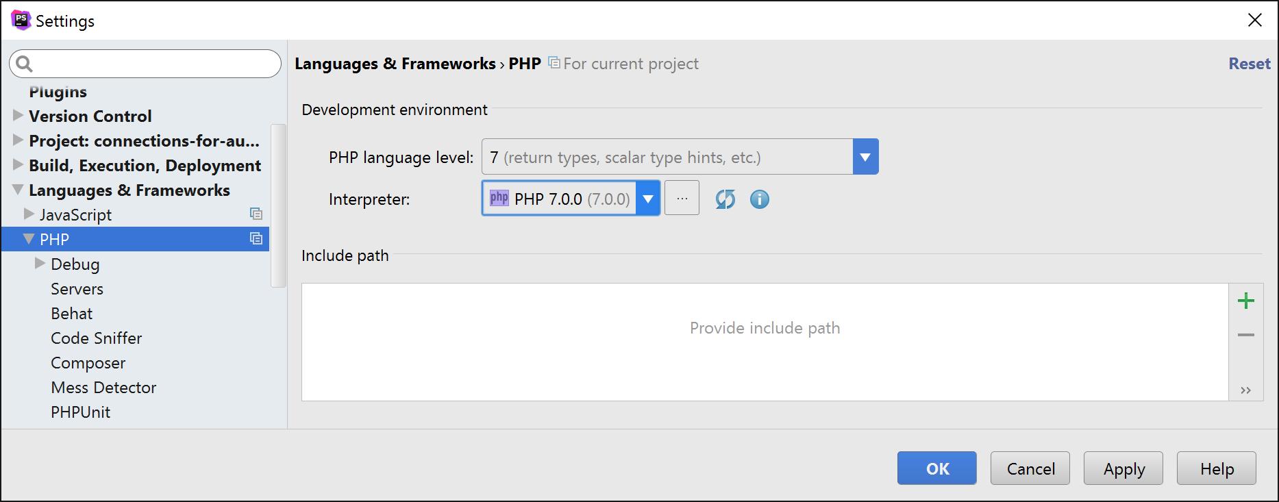 PHPStorm PHP interpreter