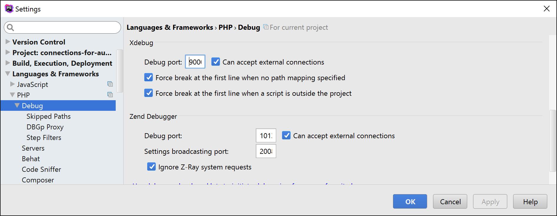 PHPStorm remote debugging setup