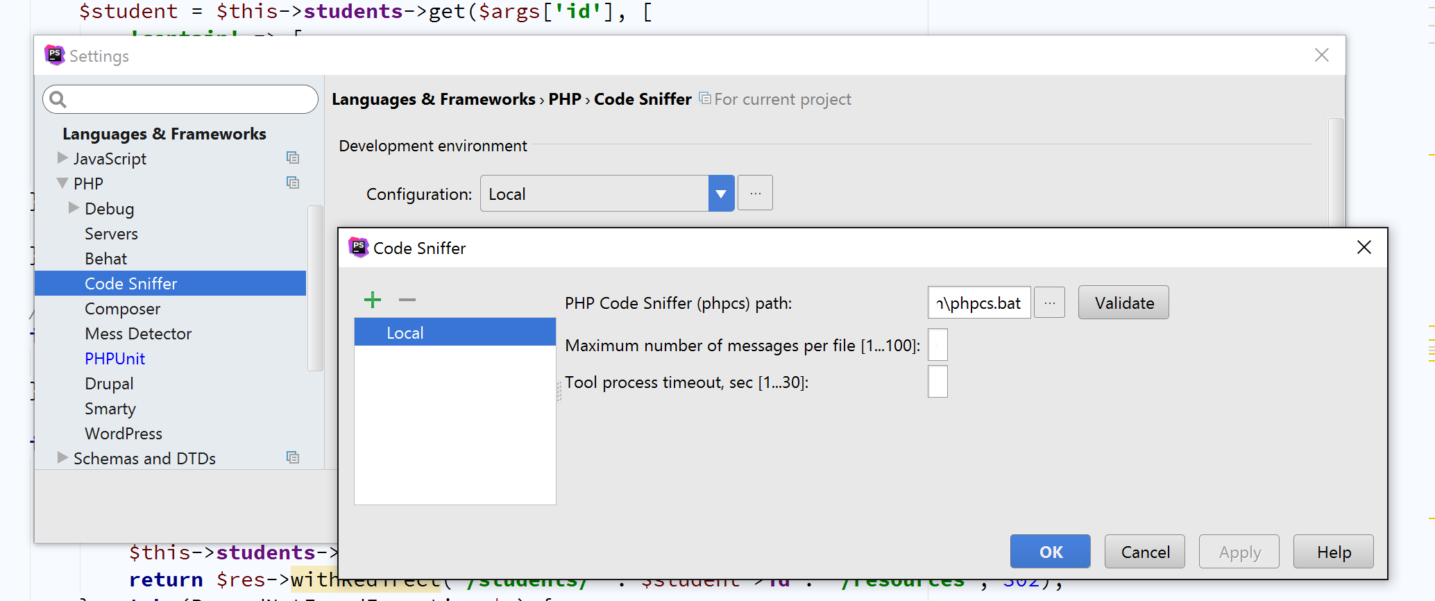 PHP Code Sniffer in PHPStorm