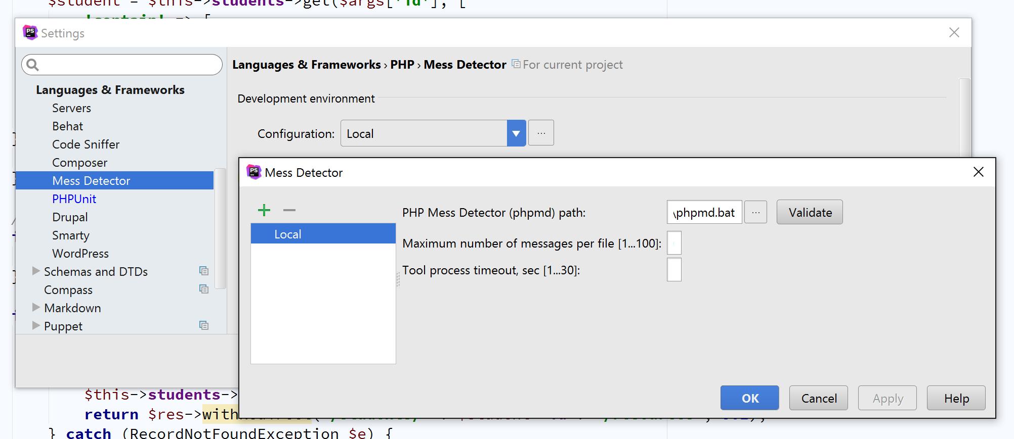 PHP Mess Detector in PHPStorm