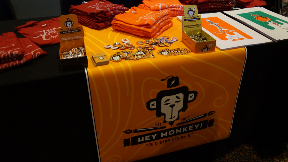 Hey Monkey Design merch table