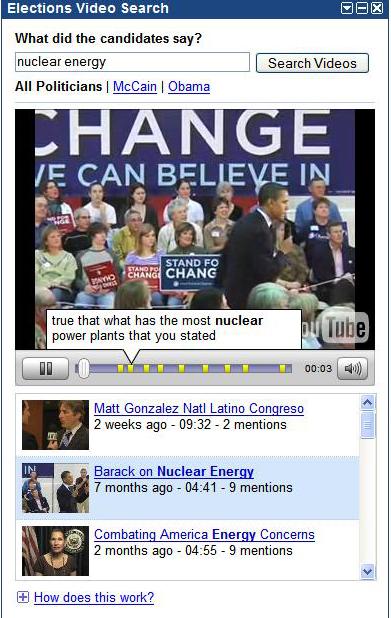 screenshot of Google Elections Tool