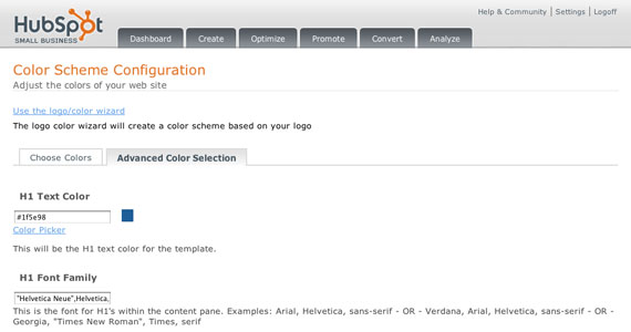 Hubspot Color Scheme Configuration
