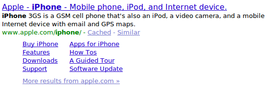 iPhone search result