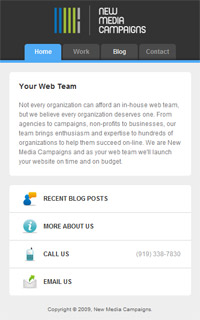 New Media Campaigns' mobile website