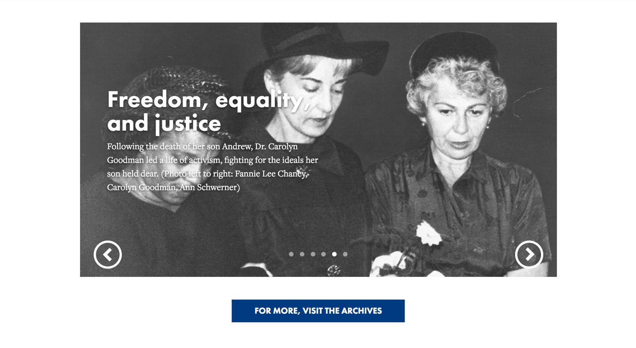 Andrew Goodman Foundation Timeline Slider